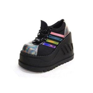 NEW demonia stomp shoes boots lace up HOLOGRAPHIC